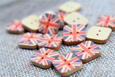"""Lot of 10 Square UK FLAG 2-hole Wood Buttons 5/8"""" (15mm) Scrapbook Craft (037)"""