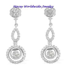BEAUTIFUL PLATINUM SILVER DOUBLE CIRCLE TEARDROP WHITE DIAMOND DANGLE EARRINGS
