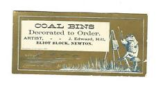 Trade Card COAL BINS Decorated To Order Artist Hill Newton Frog Painting Easel