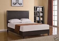 BROWN Leather QUEEN Size Platform Bed Frame & Slats Modern Home Bedroom NEW