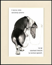 BASSET HOUND COMIC DOG PRINT MOUNTED READY TO FRAME #2