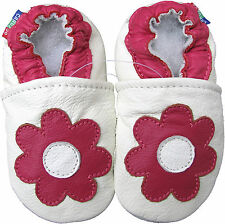 carozoo daisy white 0-6m soft sole leather baby shoes