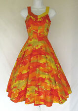 VINTAGE 1950s - 1960s DE WEESE DESIGN MOD HAWAII DRESS SIZE 10 - 32 RED ORANGE