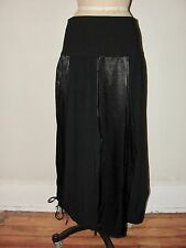 IVAN GRUNDAHL*NICE!! BLACK ASYMMETRIC DRAWSTRING LAGENLOOK LONG PANEL SKIRT*36 S