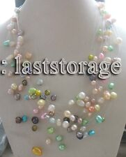 15rows freshwater pearl multicolor  baroque necklace 17-19""