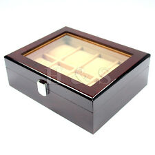 High Quality Wooden Watch Display Storage Box Chest Jewellery Case Organiser -W8