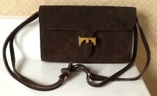 EUC - Vintage MEYERS Brown Suede Shoulder Bag Purse w/ Gold Tone Closure Pretty!