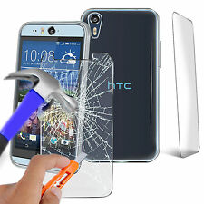 Ultra Thin Clear TPU Gel Skin Case Cover & Glass for HTC Desire 530