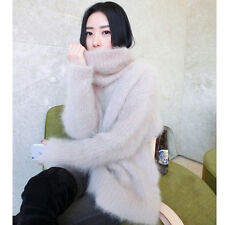 Faux Mink Cashmere Womens Loose Pullovers Turtleneck Outerwear Cardigan Sweater