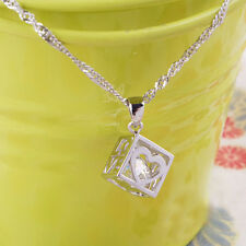 Fashion Women Jewelry Magic Love Cube Silver Crystal chain Necklace Pendant Gift