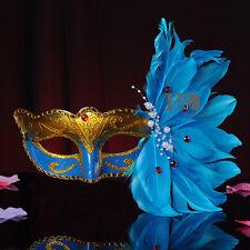 Blue Europe Collectibles Partial Venetian Halloween Masquerade Ball Masks Party