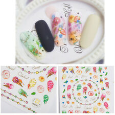 1 Sheet Adhesive Waterproof 3D Nail Sticker Icecream Dessert Style Manicure DIY