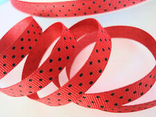 "5 yard Polka Dots Grosgrain 3/8"" Ribbon/Craft/Polyester/Bow/9mm Red/black R79-29"