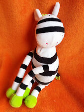 Bruin toys r us zebra soft toy lime green with velcro hands 12""