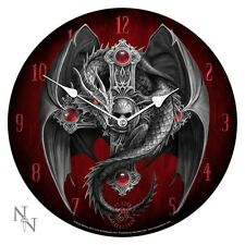"""ANNE STOKES GOTHIC SKULL CRUCIFIX DRAGON GUARDIAN PLATE WALL CLOCK 13.5""""D"""