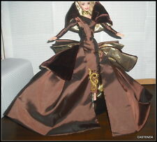 DRESS MATTEL BARBIE DOLL PORTRAIT IN TAFFETA CHOCOLATE VELVET & TAFFETA GOWN