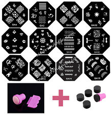 Set 20 Pcs Nail Art Templates + Stamper+ Sponge Plates DIY Transfer Polish Tool