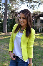 ZARA NEON YELLOW ZIP BOUCLE BLAZER JACKET SIZE S UK 8 BLOGGERS