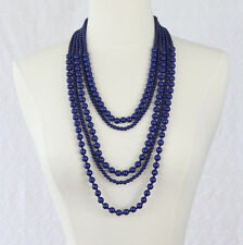 Navy Blue Necklace Five Strand Beaded Long Necklace Beads Statement Necklace