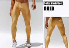 Mens Medium color oro metallico Compressione Corsa Collant di formazione Activewear Gay UK
