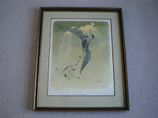 Original PEREGRINE FALCON Hunting Print Lithograph Picture Sloan Wade Collection