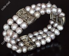 Genuine 3 Rows freshwater cultured pearl beads bracelet-stretchy