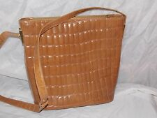FRANCESCO BIASIA TAN CROC DESIGN LEATHER SHOULDER BAG HANDBAG PURSE ITALY