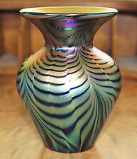 Signed Lundberg Studios WATERFALL MINI HEART Art Glass Vase
