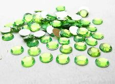 200pcs 8mm Acrylic Crystal Round Faceted Flat Back Rhinestones Beads DIY  Green