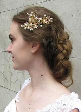 Gold & Elfenbein Perle Laurel Blatt Haarkamm Griechisch Braut Hochzeit Blume