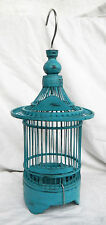Blue hand made in bambù e legno asiatico Bird Cage-pianta contenitore/Decor