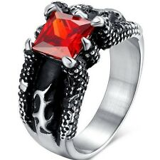 Stainless Steel Ring Biker Size 9 10 11 12 13 14 Ruby Red Claw Dragon Bear Class