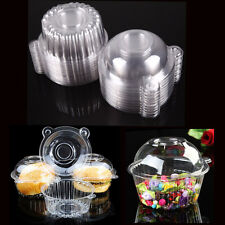 50pc Clear Plastic Single Cupcake Cake Case Muffin Pod Dome Holder Box Container