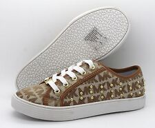 Michael Kors Medici 2 Girls UK 13.5 EU 32 Tan & White Embellished Trainers Shoes