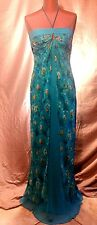 LAUNDRY Shelli Segal Silk Chiffon Strapless Peacock Teal Print Gown Dress Size 4