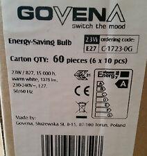 Govena Energy saving Bulb Super bright 23w E27 spiral 16000 Hour life Box of 60