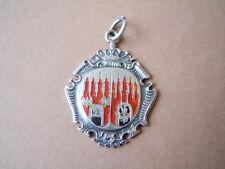 Alter Wappen Anhänger mit Email & Buchstaben Gravur 800 Silber 6,3g/3,6x2,4 cm