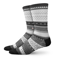 NWT Men's Crew Socks| Cool Knee High Socks | Aztec Tribal Pattern | LARGE (9-13)