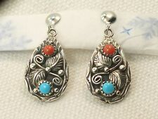Estate Sterling Silver Native American D Spencer Turquoise & Coral  Earrings