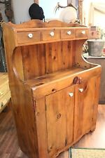 Antique Primitive Wooden High Back Dry Sink / Cupboard with Porcelain Knobs