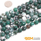 Round Multicolor Faceted Fire Agate Gemstone Jewelry Making Loose Beads 15""