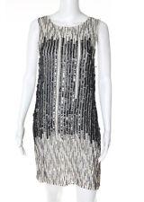 NEW ALICE + OLIVIA Ivory Silk Beaded Shift Dress Sz 8 $550 4663888