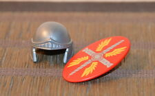 B09 PLAYMOBIL LOT COLLECTION CASQUE GRIS BOUCLIER ROUGE ROMAIN