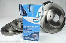 SLOTTED PAIR FRONT & REAR DISC BRAKE ROTORS & BENDIX PADS FORD FALCON BA BF FG