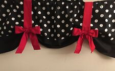 Polka Dot Black White Red Bows Custom Handmade Window Curtain Valance