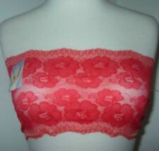 NWTS Sexy Strapless Bra Sheer Lace Red Gold Bandeau Tube Top 28 30 32 34