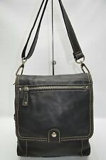 Fossil Black Soft Pebbled Leather Flap Organizer Crossbody Shoulder Bag