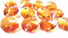 50 Iridescent Peach Chandelier Crystal Beads Octagon Prisms Suncatcher Octagons