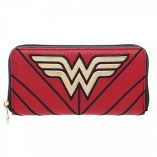 WONDER WOMAN Logo Zip Around Womens Clutch Wallet