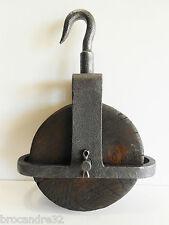 GROSSE POULIE DE PUIT & AUTRES BOIS & ACIER A CROCHET PIVOTANT / 3KG900 / PULLEY